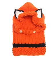 Wholesale Korean Winter Warm Neck Wrap Fox Scarf Caps Cute Autumn Children Wool Knitted Hats Baby Girls Shawls Hooded Cowl Beanie Caps