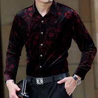 beijing clothing - Autumn Men s Long Sleeve Shirt Fashion Flower Shirt Men Casual Shirt Men Plus Size M XXXL Red Brand Cothes Beijing Clothing
