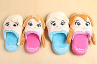 Wholesale 2015 New arrival Elsa Anna Winter Warm Slippers shoes Three dimensional cartoon indoor children slippers