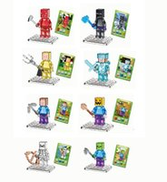 Wholesale 8PCS Kids Educational Toy minifigures Crystal Building Blocks anime action figures diy assembling bricks baby toys dolls no boxes