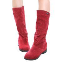 Nueva mujeres de la llegada de la nieve Botas de mitad de la pantorrilla gamuza sintética de la Ronda del dedo del pie Botas encubierta Zapatos de cuña del talón de invierno las mujeres rojas / Negro / Marrón