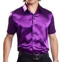 silk dress shirt - 2014 Luxury Mens Slim fit wedding Shirt High quality Artificial silk Short Sleeve Shirts bounce Mens dress Shirts colors size S XXL