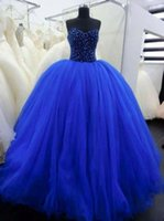 Cheap Custom Made Royal Blue Quinceanera Dresses Bead Sequins Full Bodice Ball Gown Corset Sexy Prom Dress Sweet 16 Pageant Gowns Exquisite Chic