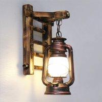 bamboo garden lanterns - Vintage Iron Bamboo Lantern Led e27 Wall Lamp Creative Indoor Outdoor Wall Light for Bar Garden Restaurant Entrance1852