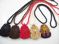 america beaded jewelry - WOOD Necklace GOOD Sphinx Europe and America Hip Hop Necklace Pharaoh Beaded Rosary Jewelry Colors