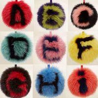 animals with feathers - A Z custom initial pom pom keychains handmade cm real fox fur ball keychains bag charm pluffy bag bug capital letter A Z with logo