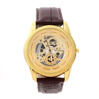 steampunk watches - 10PCS Men s watch Hollow out Skeleton Faux Mechanical Watch Classic Transparent Steampunk Wristwatch Leather Band Watches Relogio Masculino