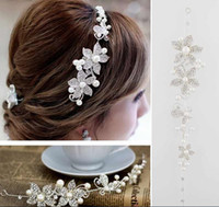 Model Pictures bridal hair accessories - 2015 Fashion Crystal Pearl Flower Party Wedding Hair Accessories Bridal Headband Tiara Headwear Silver Pearls Bridal Crown Headbands