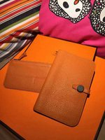 Wholesale FASHION ORANGE REAL LEATHER PASSPORT HOLDER CALFSKIAN WALLET CARD HOLDER COIN PURSE