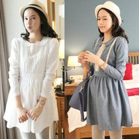 Wholesale Autumn Spring New Style Long Sleeves Maternity Dresses White Loose Casual Daily Shirt Dresses Pregnant Women Clothing Cheap
