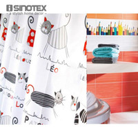 Wholesale Shower Curtain Polyester Cloth Waterproof Moldproof Cartoon Tape Gutters Bathroom Curtain Cat cm cm With Hooks
