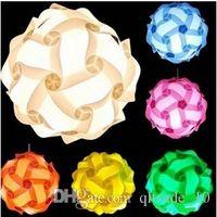 Wholesale 300pcs CCA2363 DIY Modern Pendant Ball IQ Lamp Jigsaw Puzzle Pendants Colorful Pendant Lights LED DIY Adjustable Chandelier Ceiling Lamp