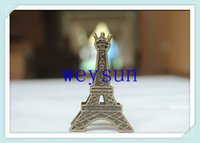 Wholesale DHL Freeshipping Vintage Eiffel Tower Card Stand Paper Clamp Bookmark Metal Clip Office Stationery