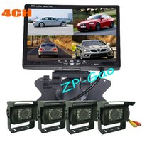 Wholesale 4x LED IR CCD Reversing Camera quot LCD CH Video input Quad Split Monitor Car Rear View Kit