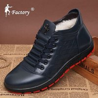 Cheap Winter handmade men cotton-padded boots male casual genuine leather shoes plus wool velvet high tops shoes