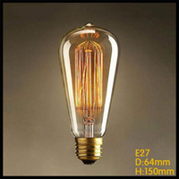 Wholesale 110 v or v ST64 Vintage Squirrel W E27 Incandescent Edison Light Bulb fireworks carbon filament antique lamp lights bulbs