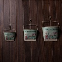 Wholesale Hot style sets of three wounded in action is inserted metal flower barrel flower pots garden home decor furnishings barrel stora