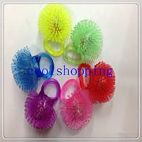 Wholesale DHL Freeshipping Soft Jelly Glowing In The Dark LED Glow Finger Rings Light For Wedding Birthday Party Favor