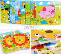 Wholesale Hot Selling Lovely SET Carton Wood Puzzle Educational Toys For Kids Children New