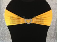 Wholesale Hot Sale Gold Spandex Bands Lycra Band Chair Covers Sash With Heart Shape Buckle For Wedding Banquet