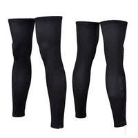 Wholesale 1 pair cycling leg sleeves M XL polyester breathable elastic long Road mtb sun care leg warmers black
