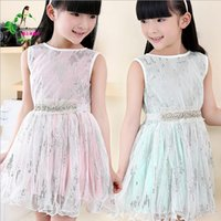 high end clothing - Korean Style Summer New High end Children s Clothing Girls Boys Sequins Embroidered Cotton Gauze Vest Dress Kids Princess Dresses