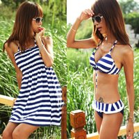 Wholesale Womens Swim Suit Sexy Navy Striped Bikini Online shorts three Piece Beach Swimdress Halter Swimwear Bathing Suits