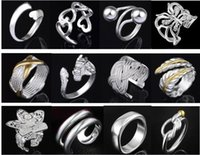 Wholesale Jewelry Factory Beautiful mixed Charm silver Ring With Side Stones jewelry Lowest price Fashion