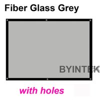 Wholesale Portable inch high brightness fiber glass grey Front fabric Projection Screen with black border hole