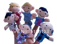 Unisex 13-24 Months PVC Free Shipping 6 pcs lot Six family members Educational Toys Children Gift Baby Plush Toy  Finger Puppets Tell Story Prop