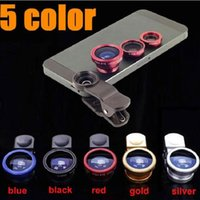 Wholesale 3 in Clip Lens degree Fish Eye Wide Angle Macro Fisheye Lens camera lenses For iPhone Samsung HTC Nokia