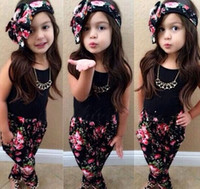 children tank tops - 2016 Summer Girls Headband Flower Tank Tops Pants Sets Children clothing Baby Floral outfits tee shirts shorts pants suit M21
