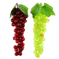 Wholesale 2 Bunch of High Stimulation Rubber Green Purple Grapes Desk Table Home Garden Decor Wedding Party Decoration