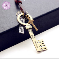 ancient south american art - Restore ancient ways of literature and art van sweater chain big key Skeleton Key Initial Monogram Pendent Necklace