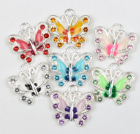 enamel charms - MIC Colors X17mm Silver Plated Enamel Rhinestone Crystal Butterfly Charms