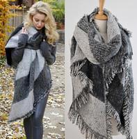 Wholesale Fashion Blanket Scarf Female Faux Cashmere Pashmina Wool Scarf Shawl Winter Contrast Color Warm Scarves Cape echarpes foulards femme