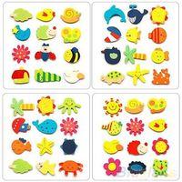 Wholesale 12pcs Colorful Kids Baby Wood Cartoon Fridge Magnet Child Kids Educational Toys Q3H RT1