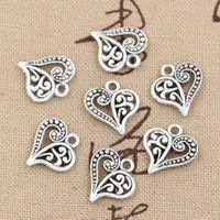 al por mayor pulseras tibetanas-200pcs Encanta la antigüedad hueco del corazón 15 * 14m m, ajuste pendiente de la aleación del cinc, plata tibetana de la vendimia, DIY para el collar de la pulsera