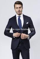 army navy vest - Custom Made Slim Fit One Button Navy Blue Groom Tuxedos Peak Lapel Groomsmen Best Man Mens Wedding Suits Jacket Pants Vest Tie G939