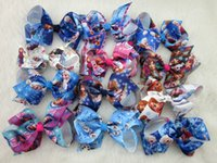 Wholesale 24pcs inch Frozen Hair Bow Baby Hairbows Grosgrain Ribbon Boutique bows WITH Alligator CLIP frozen ribbon bows