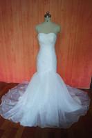 Wholesale Cheap Luxury Sweep Train Mermaid Bridal Gown Sleeveless Sweetheart Organza Weding Dress sexy In Stock Wedding Dresses