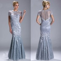 Wholesale 2015 Modest Mermaid Mother of Bride Lace Dress Applique Beads Evening Gowns with Sleeves Long Special Occasion Dresses for Women M1419