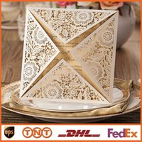 Wholesale Laser Cut Wedding Invitations Gold Free Printing Wedding Invitation Card Flowers Hollow Wedding Cards CW520_WH