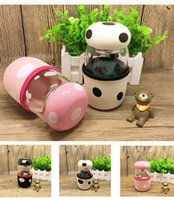 Wholesale Creative mushroom water glass bottle ml portable cup with lid and tea infuser and cup cover for students or girls boys and lovers