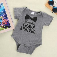 baby quote - 2016 New Baby Boys Girls Bowtie Quote Romper Cute Letters Printing Playsuit Outfits Clothing M