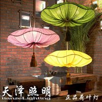 asia green energy - southeast asia Chinese style fabric pendant light marine fabric lotus leaf handmade lighting