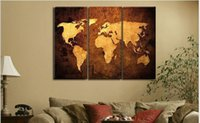 Cheap handpainted 3 piece modern abstract decorative world map pictures oil painting on canvas wall art for living room free shipping