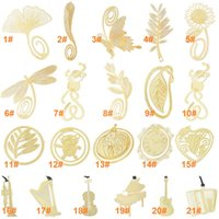 Wholesale Cute K gold plated bookmarks Cute Kawaii Gold Metal Bookmark Bookmarks Paper clip for book Korean Stationery Vintage Key Feather Angel