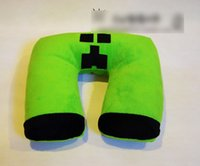 Wholesale Health Care Pillow Cartoon MineCraft JJ U shaped Office Pillow Travel Cars Neck Cushions Home Textile Neck Protection Pillow Green M2776