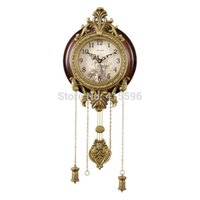 Wholesale Metal Art Antique Solid Wooden Wall Clock Silent Movement Pendulum Clocks Home Decor